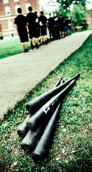 Wiffle Ball bats stand ready for use.