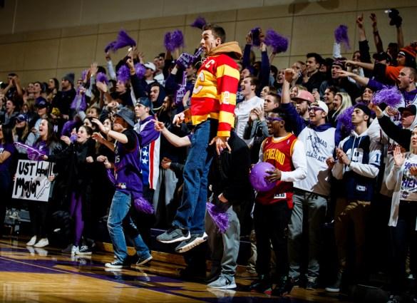 Fans cheer during a men's basketball game versus Saint John's University.