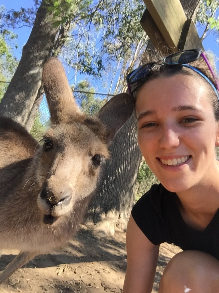 "First place, Most Epic Selfie: Ashley Worachek, Brisbane, Australia. ""Meet My Friday Roo! At Lone Pine Koala Sanctuary, you can get up close and personal with the kangaroos. The renowned animal sure is in abundance here in Oz, but it's pretty hard to take a selfie when they are running, or should I say hopping, wild!"""