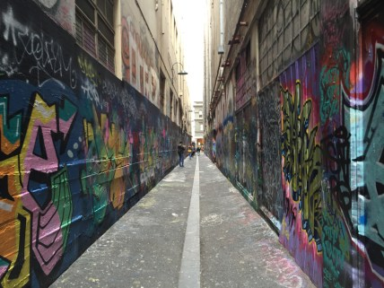 "Third place, Sense of Place: Ashley Worachek, Melbourne, Australia. ""Street Art Gallery: In Melbourne, people pay for an area on the wall to display their work. This is one of the most popular alleys in the whole city. The work changes quite often so many pictures down the alley will be unique."""
