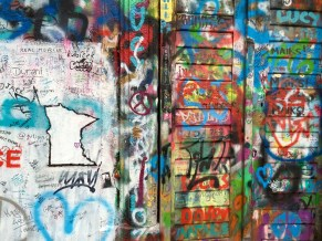"Third place, Tommies Abroad: Mary Naughton, Arcadia Istanbul, Turkey. ""Making a Mark: On my second morning in Prague I woke up early to watch the sunrise from the St. Charles Bridge and then to go find the John Lennon Wall. Knowing the tradition of the wall, I brought paints with me and left a little piece of my Minnesota and UST pride for future Tommies to come."""