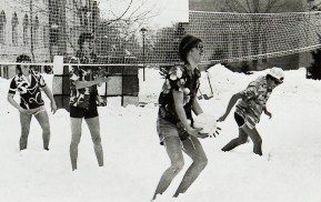 Snow volleyball in 1982.