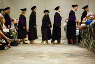 School of Law students process toward their seating area during the School of Law Commencement ceremony May 13, 2017 at the Minneapolis Hilton.
