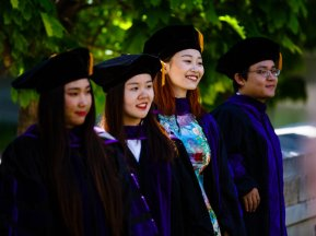 School of Law graduates pose for a photo following the School of Law Commencement ceremony May 13, 2017 at the School of Law.