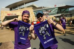 """""""Go Tommies"""" towels were a common sight on the plaza before kickoff and in Target Field during the Tommie-Johnnie game."""