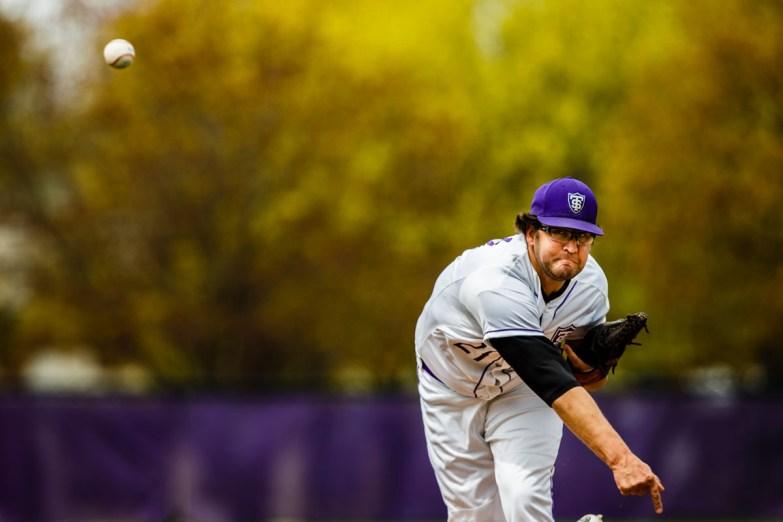Mitch Larson pitches.