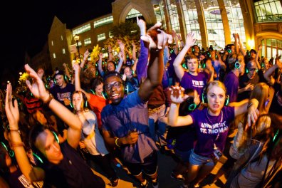 Student participate in headphone disco on the John P. Monahan Plaza September 2, 2017 at part of Welcome Days.