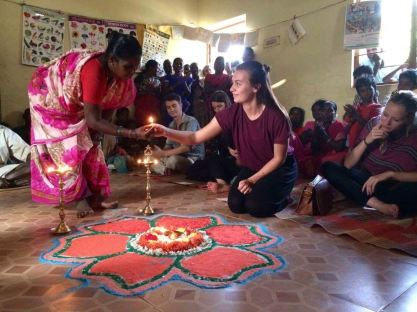 "Second place, Global Classroom: Alexandra Jensen, Chengalpattu, India. ""Connections: A welcoming ceremony in a rural village. The whole village came to welcome us and show us their homes."""