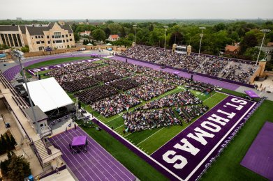 An overview of the 2018 Undergraduate Commencement ceremony in O'Shaughnessy Stadium on May 18, 2018 in St. Paul.