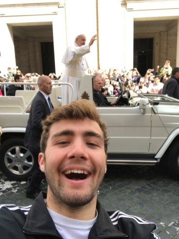 Over Holy Week, I travelled to Rome, Italy to celebrate Easter with the Pope and I was lucky enough to take this selfie with him!