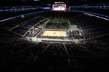U.S. Bank Stadium received a basketball facelift for the first-ever basketball game played in the stadium.