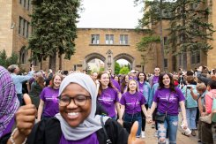 Graduating seniors March Through The Arches the day before their graduation on May 24, 2019 in St. Paul.