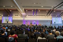 The Woulfe Alumni Hall was full on May 26 for Dougherty Family College's commencement.