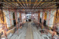 Scaffolding stands in the Chapel of St. Thomas Aquinas.