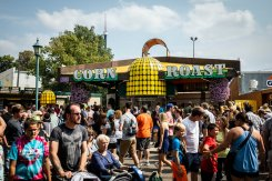 Customers gather at the Corn Roast stand at the Minnesota State Fair