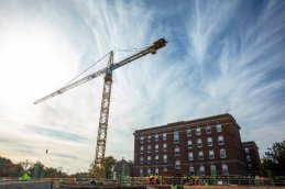 Crews work on the first year residence hall construction project on north campus on October 18, 2019, in St. Paul.