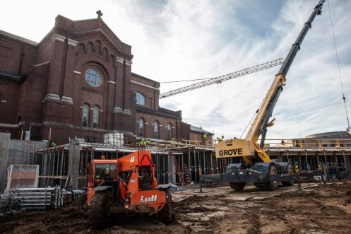 Crews work on the Iverson Center for Faith construction project surrounding Aquinas Chapel on north campus on October 18, 2019, in St. Paul.