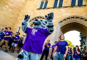Tommie the Mascot walks through the Arches during the March Through the Arches event September 8, 2016.