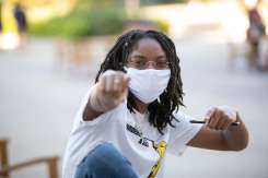 Senior Mechanical Engineering major Timara Williams sports a mask on campus. Mark Brown/University of St. Thomas