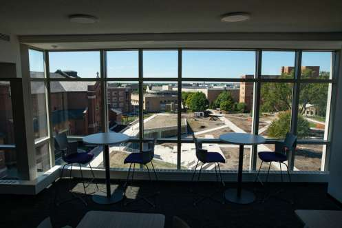 A study area overlooking the upper quad in Tommie North Residence Hall on Aug. 18, 2020, in St. Paul.