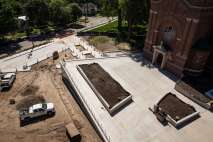 The patio area over Iversen Center for Faith in front of Aquinas Chapel.