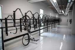 A bike storage area in Tommie East Residence Hall.