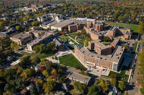 Aerial drone images of the recently completed construction projects on north campus in St, Paul on Oct. 5, 2020. Pictured: The newly landscaped north quad, the Iversen Center for Faith, Tommie North Residence Hall, Tommie East Residence Hall, the Chapel of St. Thomas Aquinas