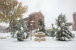 Aquinas Chapel and the Iversen Center for Faith during the first big snowfall of the year. Mark Brown/University of St. Thomas