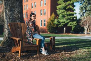 Student Alejandra Galo (Actuarial Science) poses for a portrait on south campus in April. Galo is an international student from Honduras. She was unable to return home when her home country closed its borders.