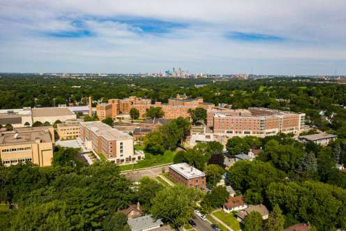 Construction projects transformed north campus in 2020. Tommie East Residence Hall, the Iversen Center for Faith and Tommie North Residence Hall are pictured from a drone in August. Mark Brown/University of St. Thomas
