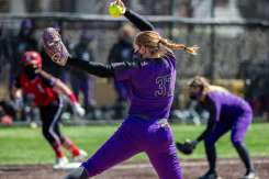Kierstin Anderson-Glass pitches the ball during the University of St. Thomas Women's Softball team's game against Bethany Lutheran College. Liam James Doyle/University of St. Thomas