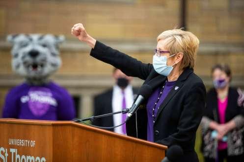 President Julie Sullivan speaks at March Through the Arches.
