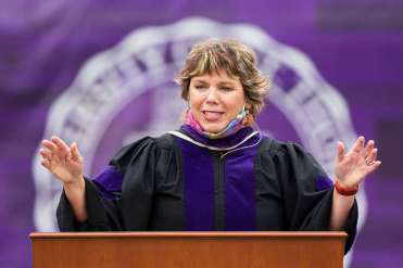 Minnesota Supreme Court Justice Anne McKeig delivers a keynote address to students from the School of Law's Class of 2020. Liam James Doyle/University of St. Thomas