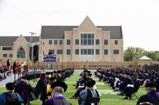 Students, staff and faculty listen during the School of Law 2021 Commencement Ceremony. Mark Brown/University of St. Thomas