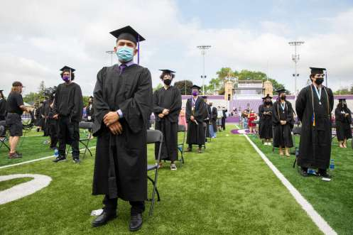 Students attend the Dougherty Family College commencement ceremony. Liam James Doyle/University of St. Thomas