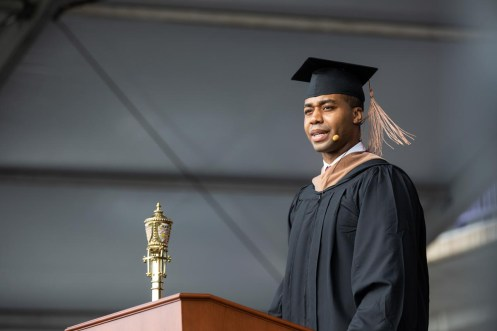 Ifedi Obidiegwu gives the OCB student address the during commencement ceremony for graduate programs in the Opus College of Business and School of Engineering. Mark Brown/University of St. Thomas