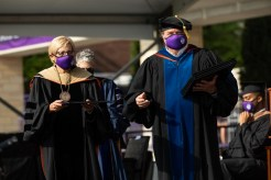 President Sullivan and School of Engineering Dean Don Weinkauf hand out diplomas. Mark Brown/University of St. Thomas