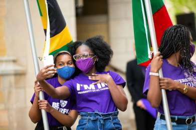 International Freshman students take a selfie together prior to the annual March through the Arches. Liam James Doyle/University of St. Thomas
