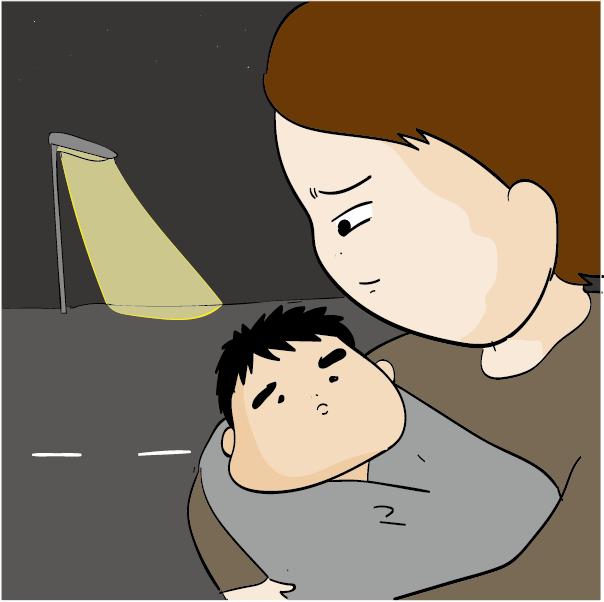 寝ている息子を抱っこして夜中の外に出る