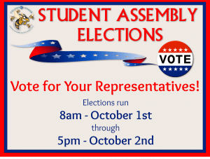 Students, it's time to elect your Student Assembly Representatives! The assembly is the voice of the students, so ensure your voice is heard! Elections run from 8 am on October 1 through 5pm on October 2. Log into the Swarm to vote.