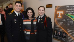 UT Knoxville Chancellor Beverly Davenport with ROTC Cadets