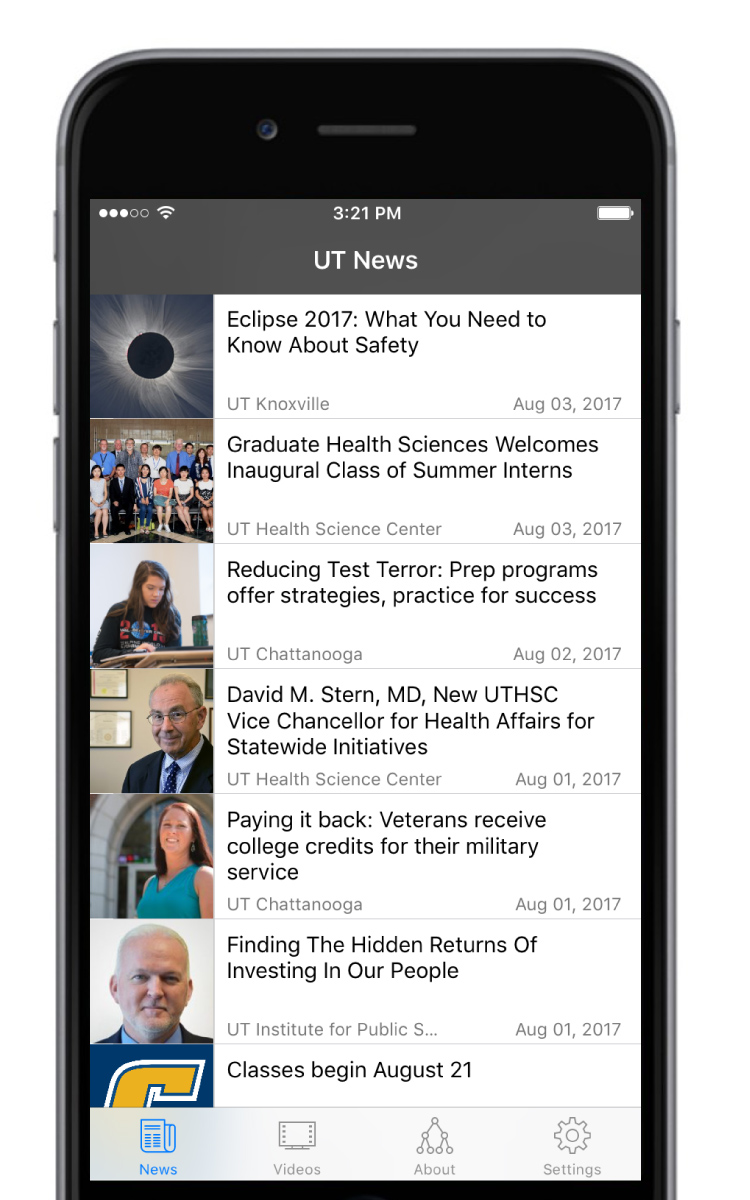 iPhone screen with thumbnail images, dates, headlines and campuses