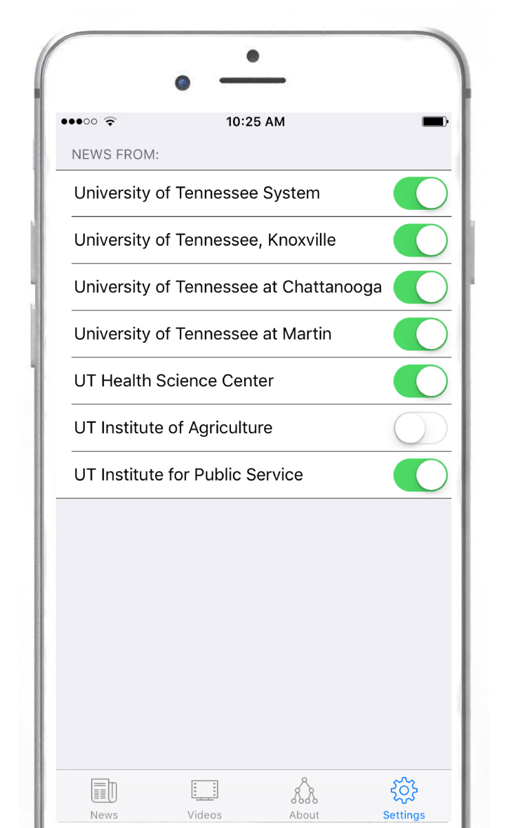 iPhone with settings screen with toggle option for each campus and institute