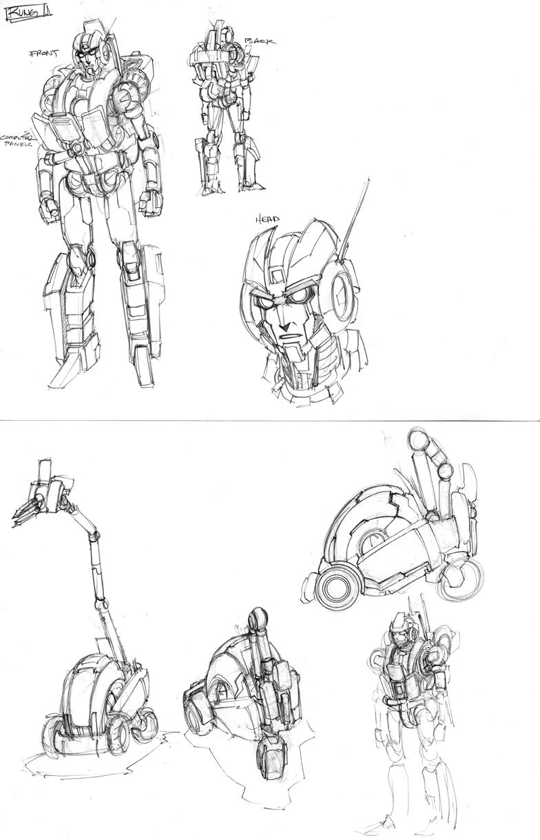Alex Milne Pre-War Megatron and Rung pencil sketches