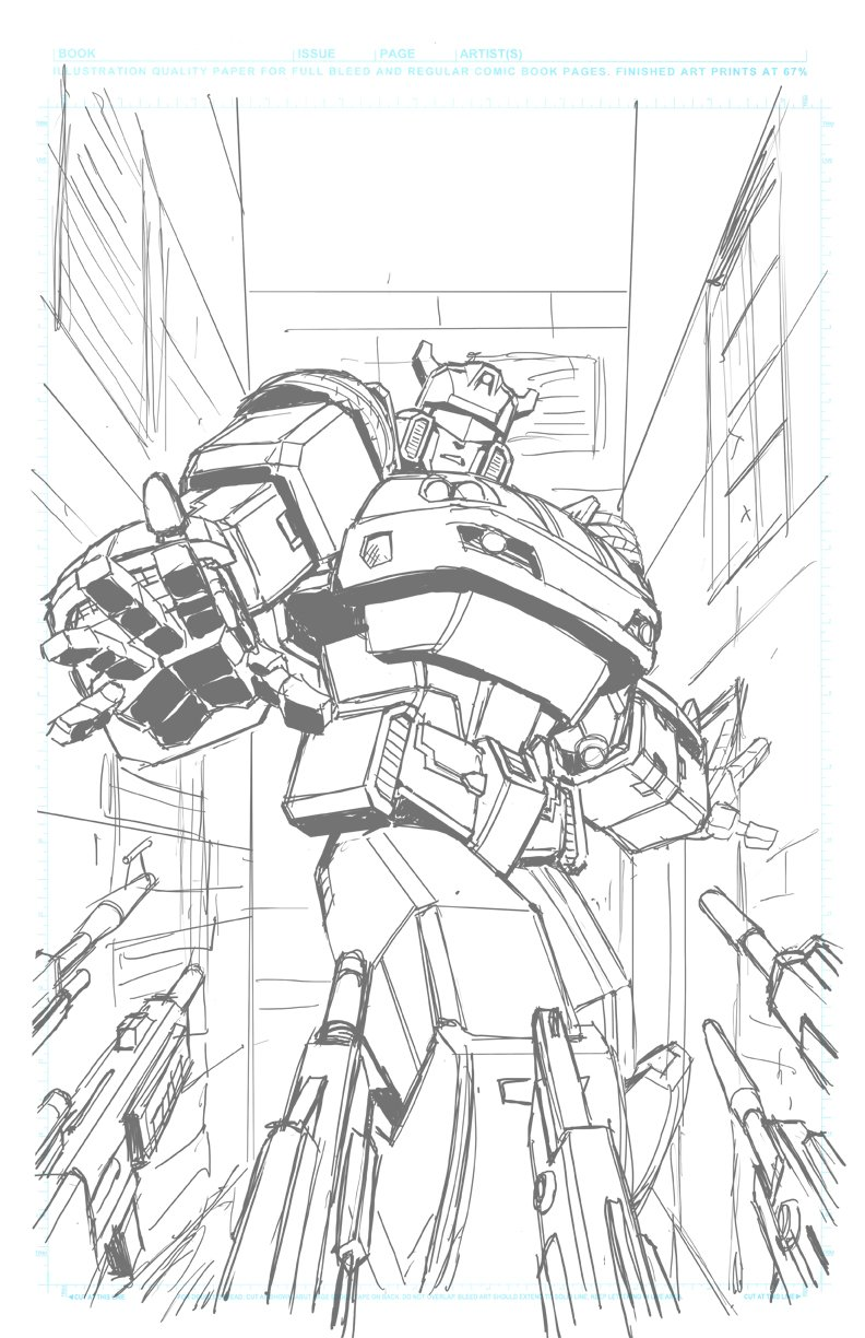 IDW Transformers: Optimus Prime #12 Main Cover Lineart And