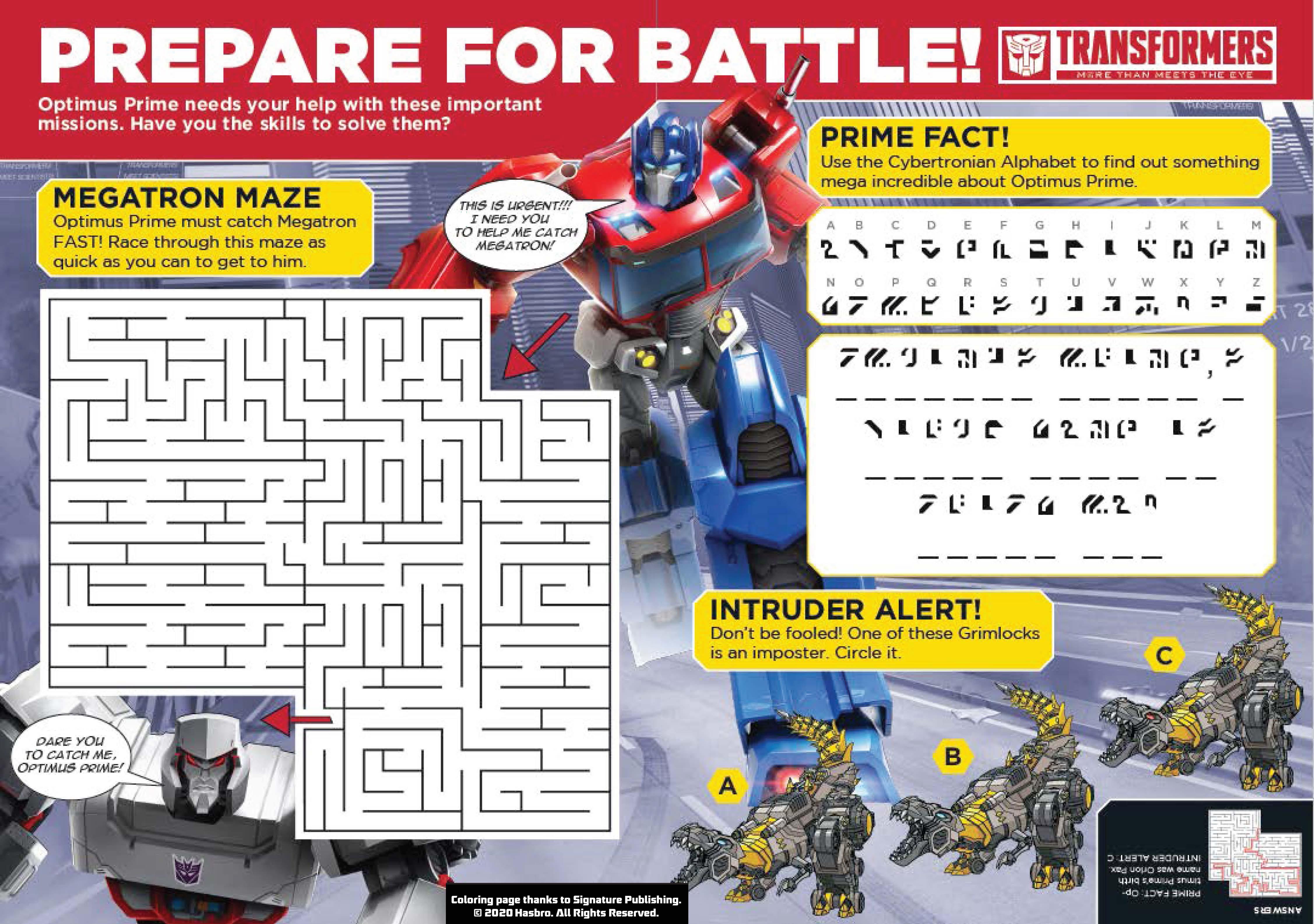 Hasbro S Bring Home The Fun Free Printable Optimus Prime