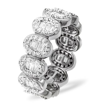 Meaning of Eternity Rings - Diamond eternity ring in platinum with baguette cut diamonds from TheDiamondStore UK