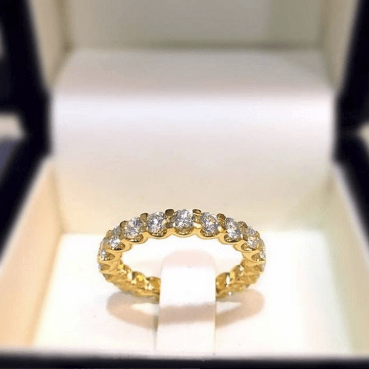 Meaning of Eternity Rings - Chloe diamond eternity ring with round diamonds in claw setting in yellow 18K gold