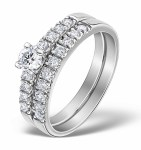 Diamond bridal set with matching engagement ring and wedding ring