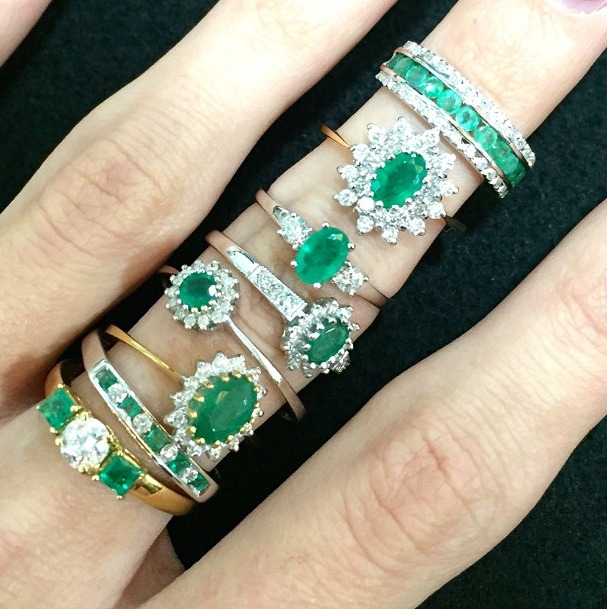 Emerald birthstone rings in various shapes
